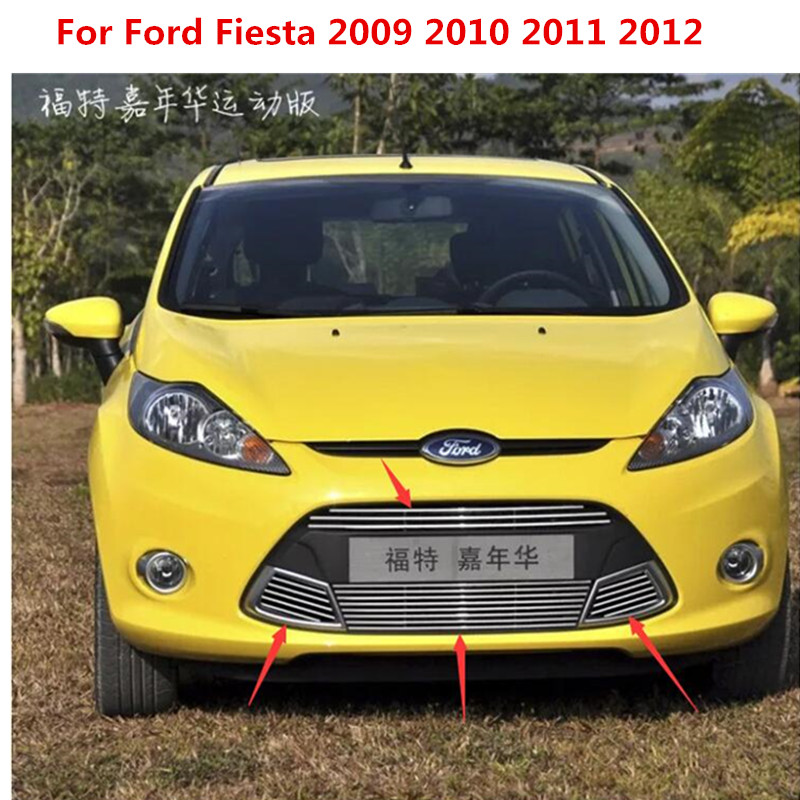 For Ford Fiesta 2009 2010 2011 2012 5dr Hatchbac Sports High quality stainless steel Front Grille Around Trim Racing Grills Trim abs chrome grille trim around racing grills light bar trim for mitsubishi asx 2010 2012
