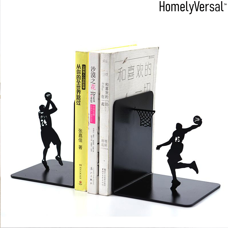 Spirited Fashion Cool Metal Stopper Holder Human-shaped Basketball Fan Bookend For School Stationery & Office Supply Bookends