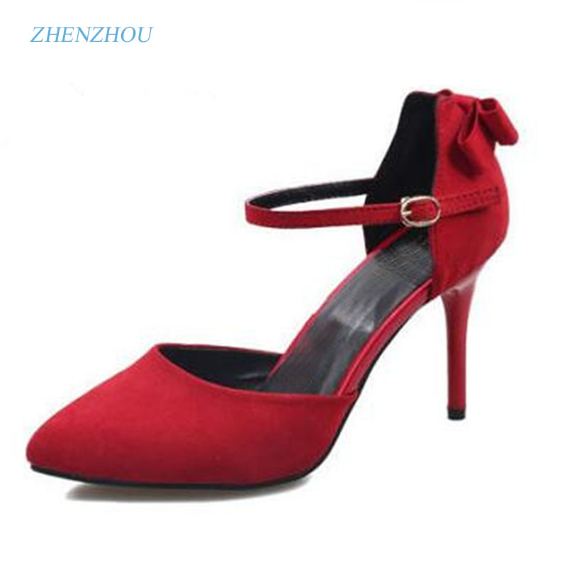 New Pump 2016 Summer style Elegant  bowknot buckles thick with suede high-heeled sandals tines shallow mouth empty women's shoes