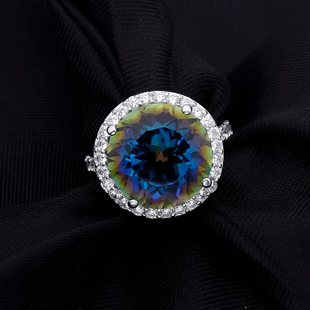 Image 5 - Gems Balle 13.0Ct Natural Blueish Mystic Quartz 925 sterling  silver Cocktail Rings Fine Jewelry For Women Wedding Engagementfine  jewelryjewelry ringsjewelry women rings
