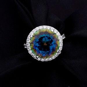 Image 5 - Mücevher erkek Balle 13.0Ct doğal mavimsi mistik kuvars 925 ayar gümüş kokteyl yüzük güzel takı kadınlar için düğün nişan
