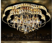 Art Decorative Round Style Design D60cm D80cm LED Crystal Ceiling Lamp Luster Remote Control AC Crystal