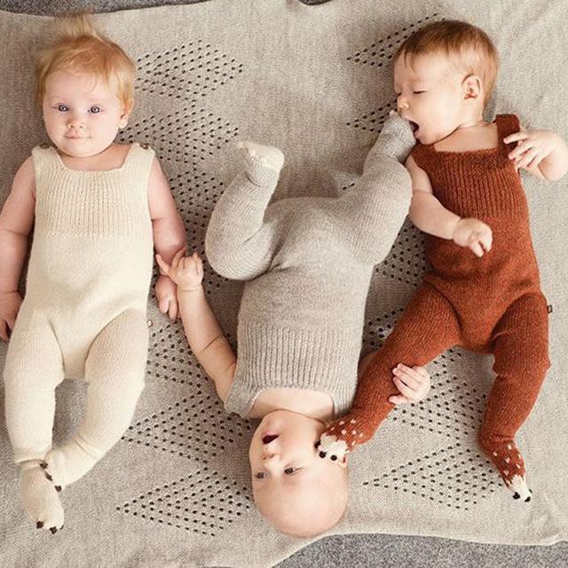 Tejer a mano de Algodón Suave 0-3 años Bebé Recién Nacido Caliente Del Mameluco Para Bebé Niñas niños invierno ropa de Los Mamelucos Del Mono invierno