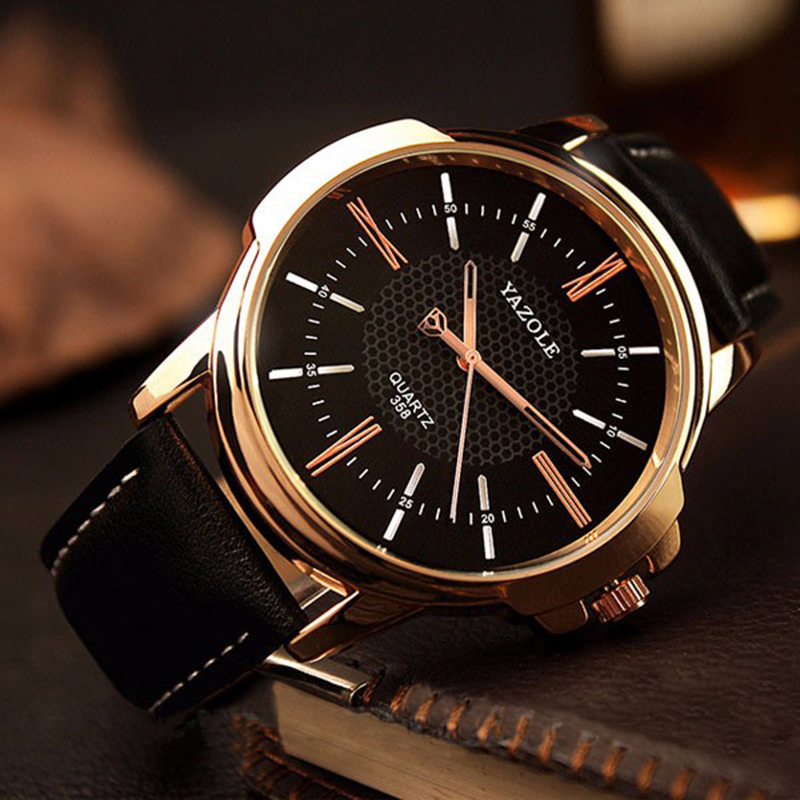 цены  YAZOLE Rose Gold Men Watches 2017 Top Brand Luxury Famous Wrist Watch Business Male Clock Golden Quartz-Watch Relogio Masculino
