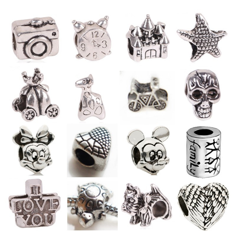 AIFEILI Mix 30pcs Tibetan silver Big Hole Loose Beads European Pendant Bead Fits Pandora Charms Bracelets & pendants diy Jewelry