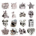 Mix 30pcs Tibetan silver Big Hole Loose Beads European Pendant Bead Fits Pandora Charms Bracelets & pendants diy Jewelry