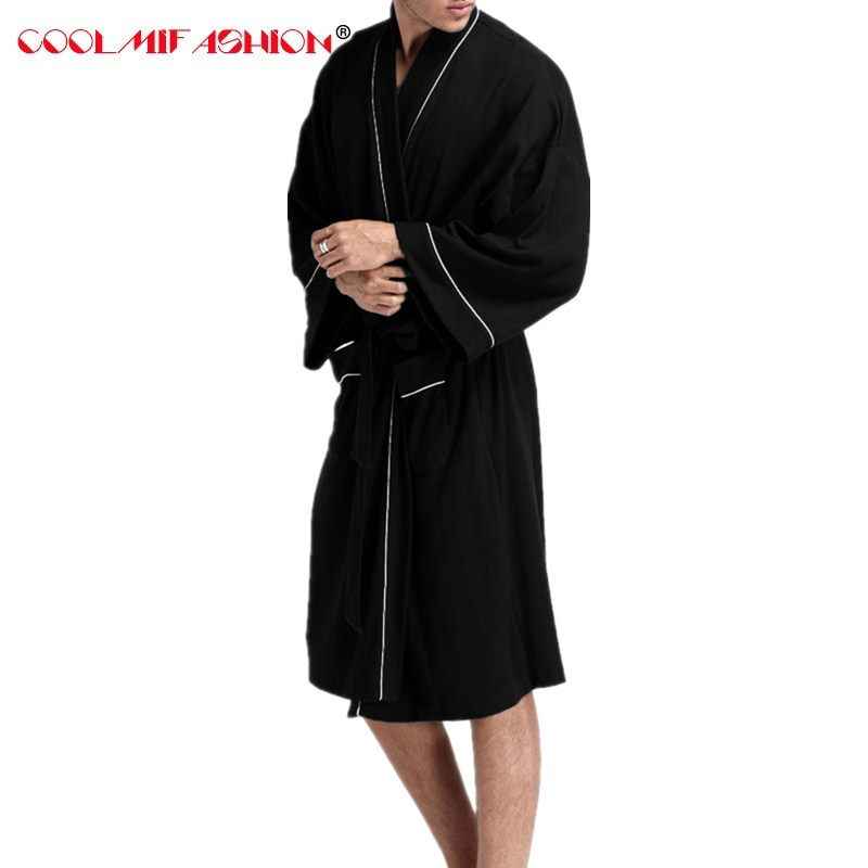 d1cf98a2cb Men Homewear Robe For Mens Waffle cottob Bathrobe Black White Robes Male  Long Bath Robe Dressing Gowns Sauna Spa Hotel Wholesale-in Robes from  Underwear ...