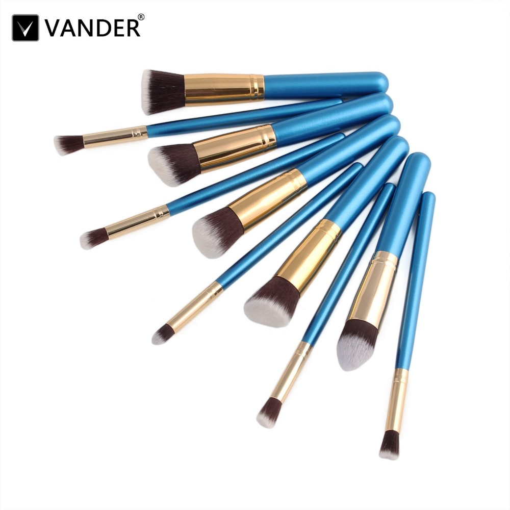 VANDER 10Pcs/Lot Blue Makeup Brushes Set Cosmetic Contour Blending Foundation Powder Concealer Tapered Eyeliner Kabuki Maquiagem 2017 new designer korea men s jeans slim fit classic denim jeans pants straight trousers leg blue big size 30 34