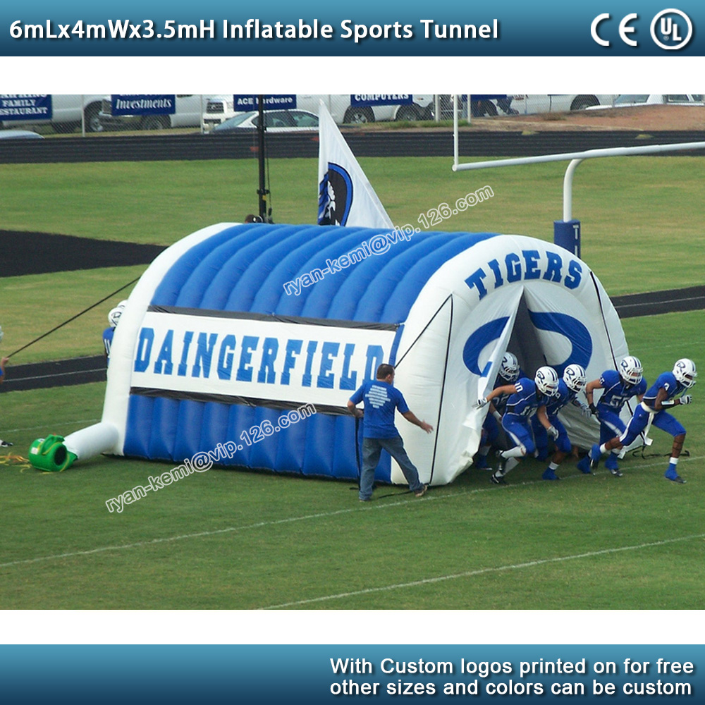 6mLx4mWx3.5mH Inflatable sports tunnel tent football soccer game inflatable tunnel tent for football team outdoor inflatable garage with logo
