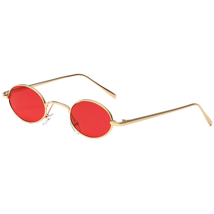 NYWOOH Luxury Round Sunglasses Women Men Small Metal Oval Sun Glasses Retro Female Male Black Red Yellow Lens Eyewear
