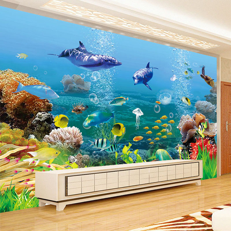 Custom Mural Wallpaper For Walls Underwater World Children's Bedroom Living Room Wall Papers Home Decor Papel De Parede Sala 3D shinehome sunflower bloom retro wallpaper for 3d rooms walls wallpapers for 3 d living room home wall paper murals mural roll