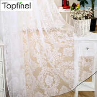 Topfinel Modern Cheap Flocked Tulle for Window Sheer Curtains for Kitchen Living Room The Bedroom Door Blinds Curtain Fabric