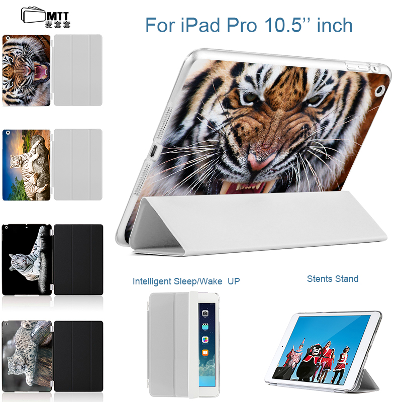 MTT Tiger Design Print Back case For Tablet apple Ipad pro 10.5 inch new 2017 10.5'' Case Slim PU Leather smart stand Cover smart tiger