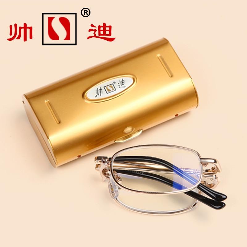 GOLD PLATED FRAME Quality reading glasses fashion resin ultra-light portable reading glasses folding +1 +1.5 +2 +2.5 +3 +3.5 +4