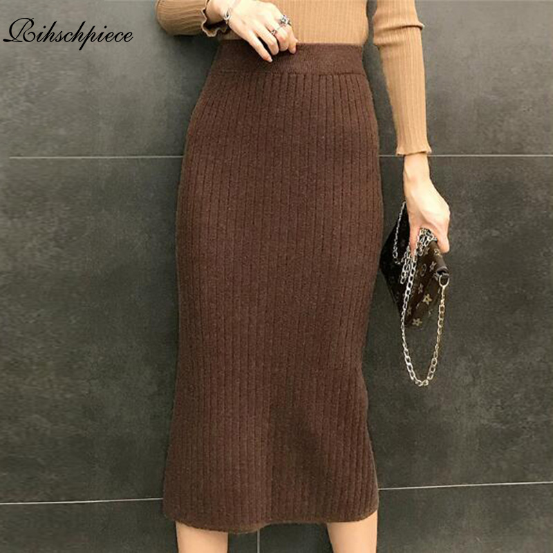 Rihschpiece 2018 Winter Plus Size 3XL Pencil Skirt Women Knitted High Waist Midi Skirts Womens Vintage Sexy Black Skirt RZF1432