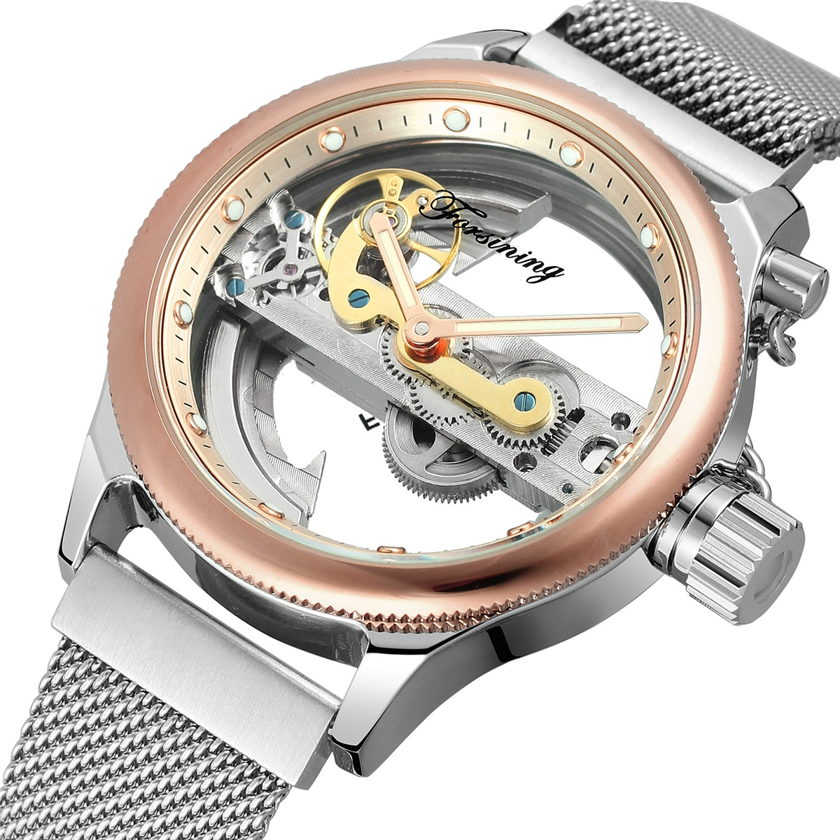 все цены на Forsining 2018 Fashion Casual Neutral Design Silver Steel Transparent Case Skeleton Watch Mens Watch Top Brand Luxury Mechanical онлайн