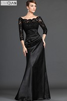 Elegant Plus Size Mother Of The Bride Dresses A Line Scoop Black Lace Long Mother Evening Gowns Custom Made