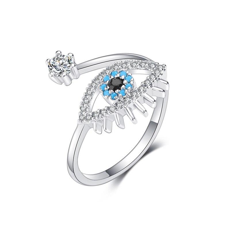 Женское классическое кольцо с кубическим цирконием, регулируемое открытое обручальное кольцо «злой глаз», богемное ювелирное украшение дл...