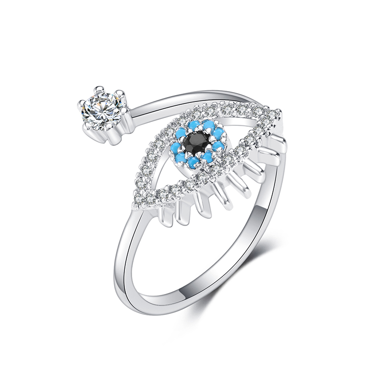 Classical Silver Cubic Zirconia Eye Ring For Women Adjustable Evil Eye Open Ring Engagement Wedding Female Bohemia Jewelry Gift