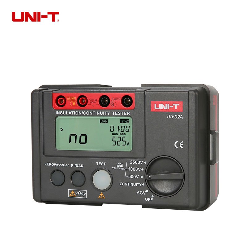 UNI-T UT502A Insulation Resistance Testers Auto Range Lcd backlight High Voltage Indication a spirited resistance