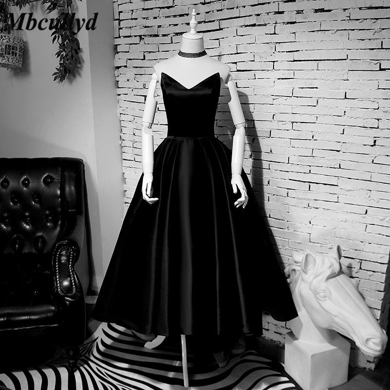Mbcullyd Black Satin   Bridesmaid     Dresses   A Line Floor Length Formal Wedding Party   Dress   Cheap Plus Size Vestido de festa Hot Sale