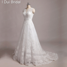 V Neck Lace Appliqued Beaded Real Wedding Dresses Custom Make High Quality Real image 006