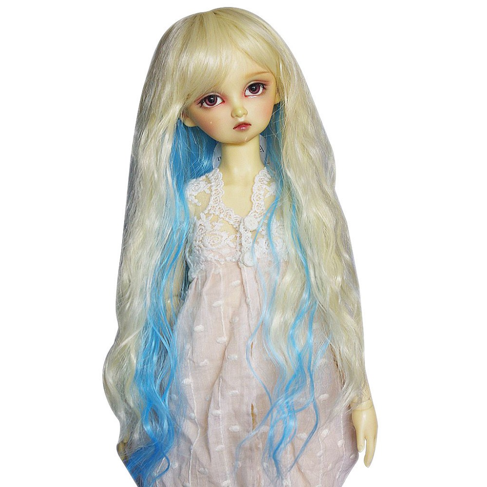 [wamami] 97# Blond&Blue Long Straight Wig For 1/3 SD AOD DOD DZ BJD Dollfie 8-9 inch handsome grey woolen coat belt for bjd 1 3 sd10 sd13 sd17 uncle ssdf sd luts dod dz as doll clothes cmb107