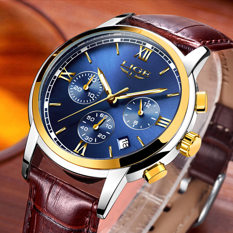 New LIGE Mens Watches Top Luxury Brand Casual Fashion Leather Quartz Watch Men Sport Waterproof Luminous Clock Relogio Masculino new 2017 classic men quartz watch luminous leather band wristwatch fashion casual dress business sport clock relogio masculino