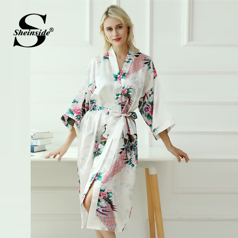 0d09bd77a Detail Feedback Questions about Sheinside Floral Print V Neck Belted Robe  Women 3 4 Length Sleeve Sleepwear Robe 2019 Spring Elegant Print Satin  Dressing ...