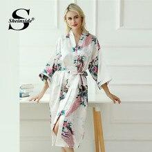 0fb2bbbbf2 Sheinside Floral Print V Neck Belted Robe Women 3 4 Length Sleeve Sleepwear  Robe 2019 Spring Elegant Print Satin Dressing Gown