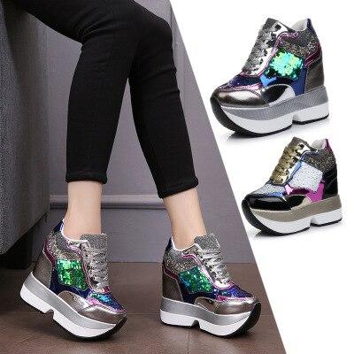 2019 printemps automne femmes chaussures à plate-forme haute mode 12 cm à semelles épaisses femmes paillettes formateurs baskets chaussures décontractées