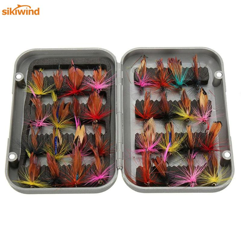 32pcs/set Various Dry Fly Fishing Trout Lures Set Artificial Insect Baits Fly Fishing Hooks With Fishing Tackle Box Case Pesca