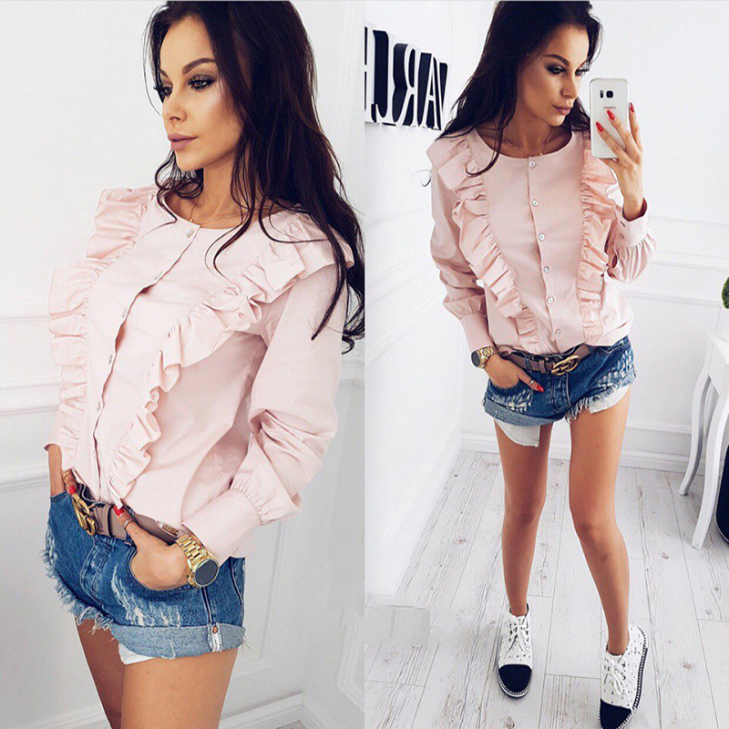 симин 2017 осенние новые модные женские элегантные блузка повседневная о-образным вырезом длинные рукава оборками топы рубашки в полоску и пуговицы одежда