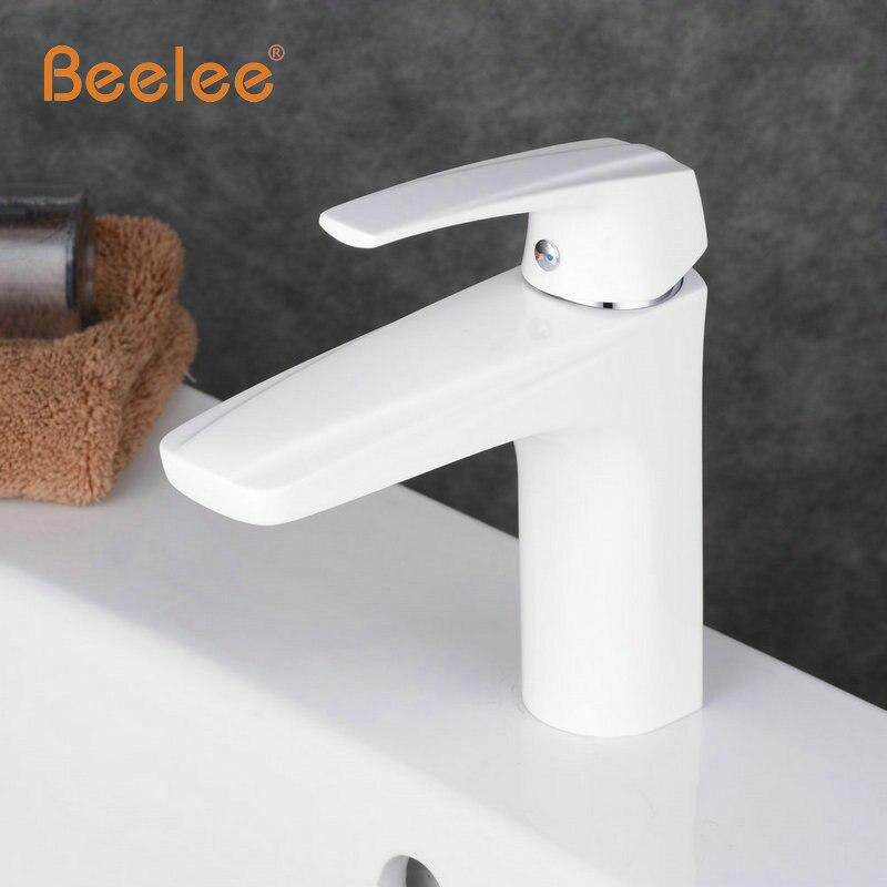 Beelee Free shipping White Vrane Bathroom White Faucet Basin Mixer ...