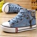2014 niños del otoño calzan hombre mujer niño habilidades de expertos de alto zapatos de lona de mezclilla niño cremallera lateral zapatos