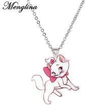 Menglina Fashion Cartoon Hair Bow Cat Necklace For Girl Kids Silver Tone Metal Chain Resin Flatback Children's Jewelry Pendentif(China)