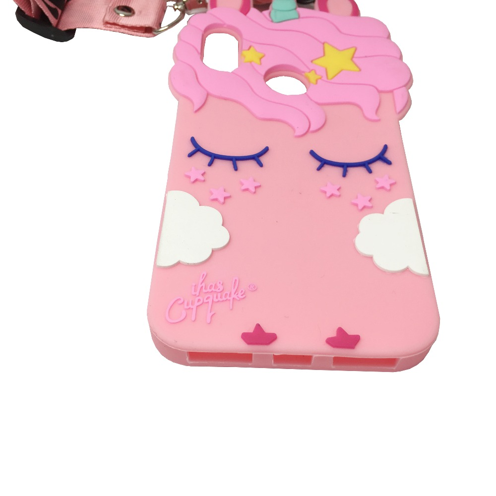 cute 3d pink unicorn strap phone case for xiaomi mi A2 cartoon soft silicone protective back cover capa fundas in Fitted Cases from Cellphones Telecommunications