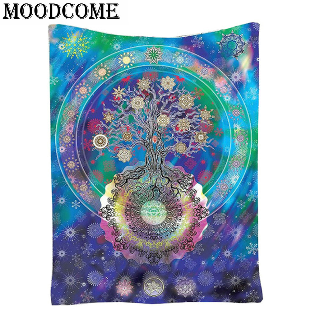 Tree Mandala Tapestry Blue Indian Wall Hanging Mandala Blanket Square Hippie Wall Tapestry Snow Tapestry Boho Mandala Tapiz