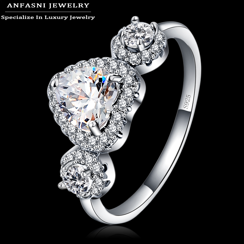 aliexpresscom buy anfasni s925 wedding rings jewelry for women luxury bague love heart engagement rings accessories bijoux bri0308 b from reliable
