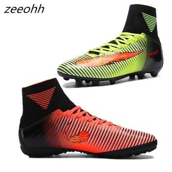 86ecb35a Zeeohh новые взрослые мужские уличные футбольные бутсы высокие TF/футбольные  бутсы для твёрдой площадки тренировочные