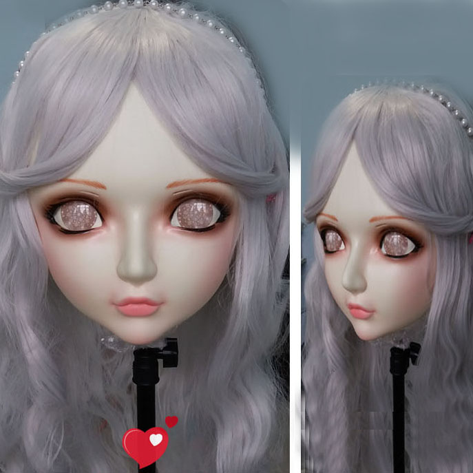 Sweet Girl Resin Half Head Bjd Kigurumi Mask With Eyes Cosplay Anime Role Lolita Mask Crossdress Doll Numerous In Variety Lovely gl055