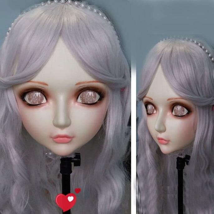 (Zhi-04)Gurglelove Female Sweet Girl Resin Half Head Kigurumi BJD Mask Cosplay Japanese Anime Role Lolita Mask Crossdress Doll