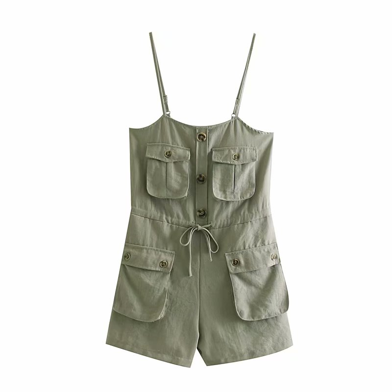 Summer Strap Sexy   Jumpsuits   Women Rompers Belt Lace Up Buttons Pockets Casual Wide Leg Shorts   Jumpsuit   Overalls
