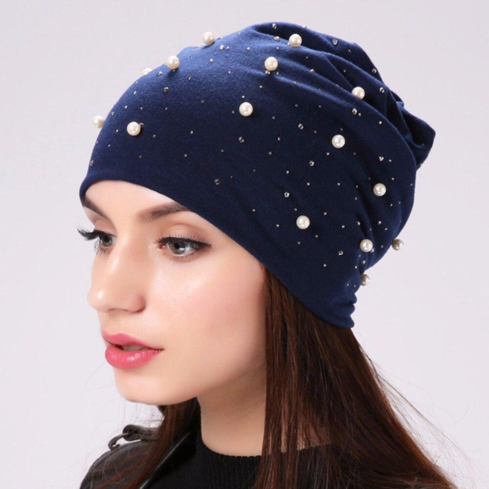 Geebro Marke frauen Beanie Hut Casual Polyester Glanz Perlen & Strass Mützen Für Frauen Schädel Beanie Hüte Motorhaube Für weibliche