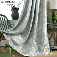Miss cat floral Jacquard Blue Window Curtains 65% Black Out Blinds Shading Decoration Drape for Living room Heavy Cloth Fabric