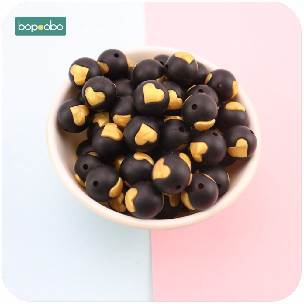 Bopoobo Silicone Heart Shape Beads Craft Supplies & Tools 5pcs Baby Shower Toys Food Grade Necklace & Bracelet Baby Teether