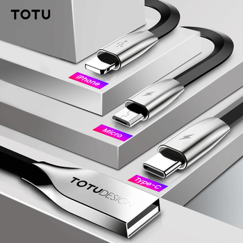TOTU 3 in 1 USB Cable For iPhone Xs Max Xr X 8 7 Fast Charging Charger USB Type C Type-c Micro USB Cable For Mobile Phone Cable