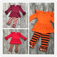 Fall Winter Baby Girls 3 Colors Children Clother Ruffles Halloween Christmas Striped Pants Children Fall Boutique