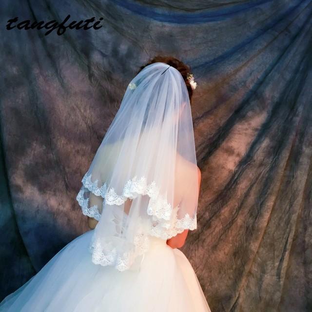 2 Tier Bridal Veil White Ivory Short Wedding Veils Lace Edge No Comb Cheap Hot Sale