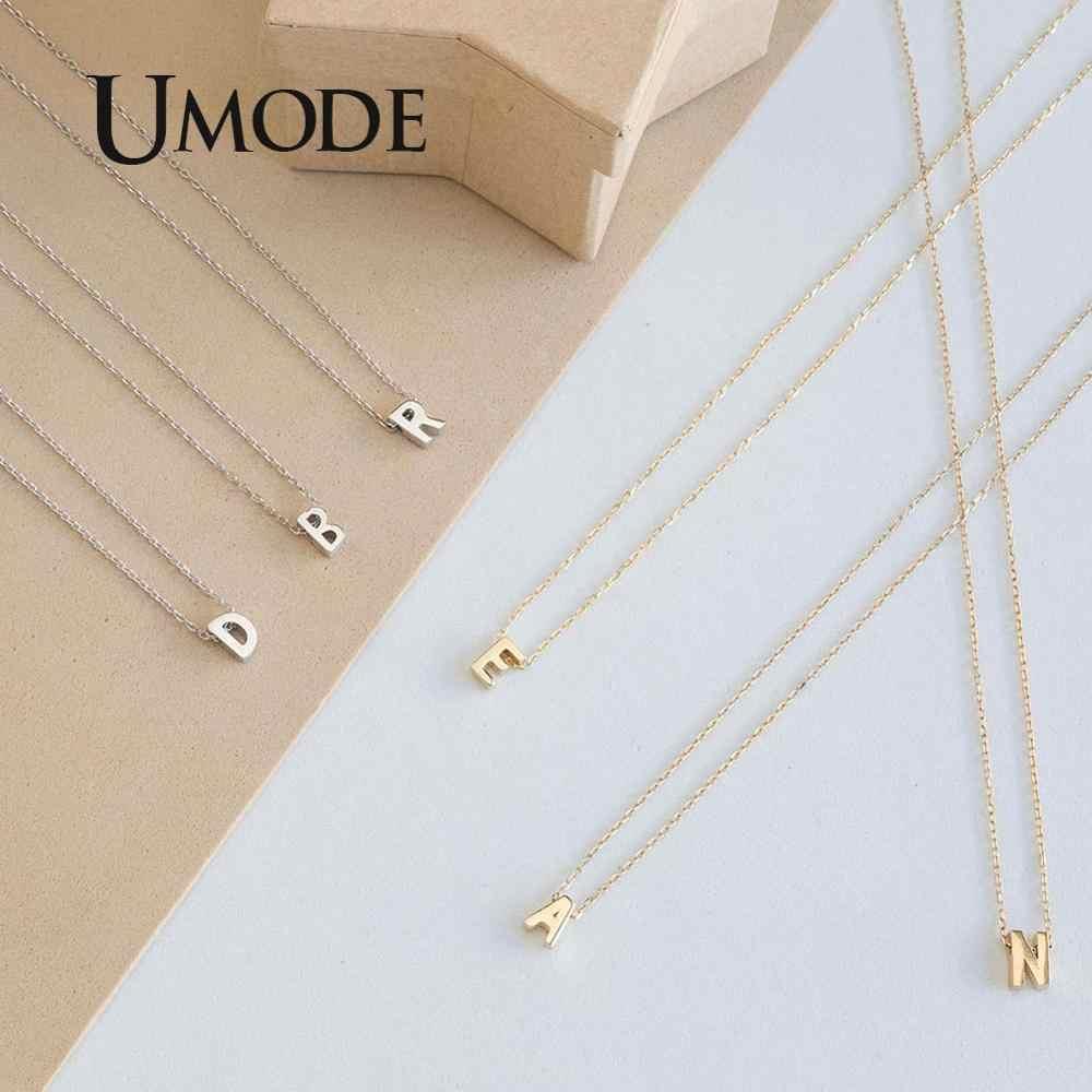 Umode 26 carta inicial prata gargantilha colar corrente personalizado colar pingente de ouro verão jóias acessórios un0373